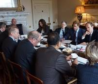 A meeting at Kensington Palace with ShelterBox's Andrew Clark (left, head of table) before Prince Harry's Nepal tour in 2016