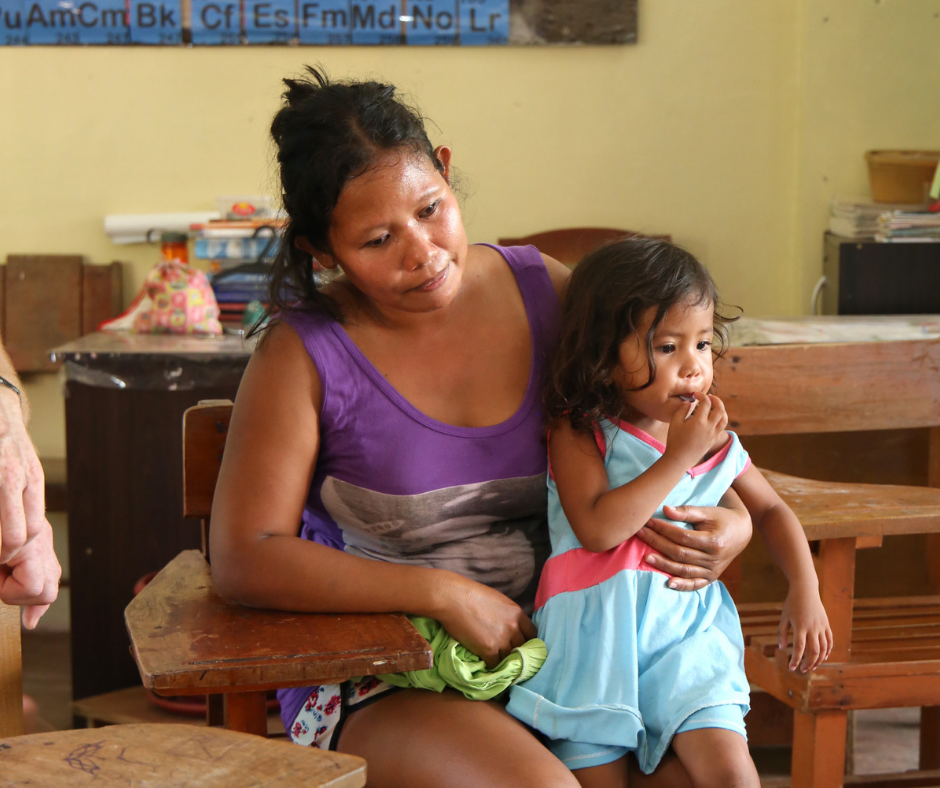 Jenny and her daughter spent many nights in a school after their home was destroyed