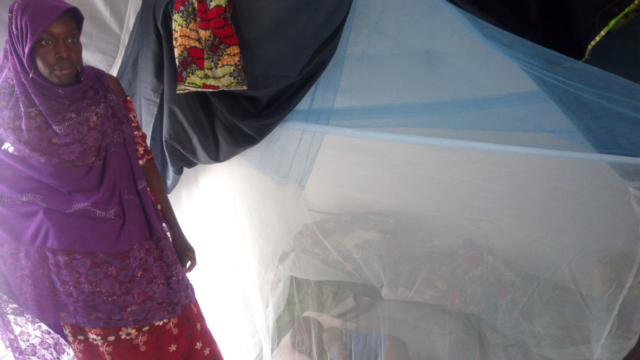 A woman stands beside her child who is sleeping underneath a mosquito net