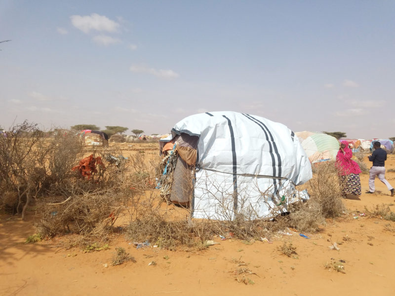 A small dome structure, reinforced with tarp in Somaliland